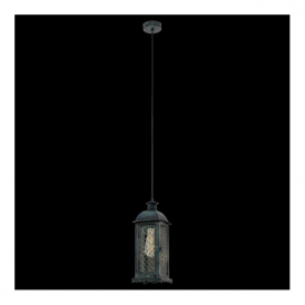 49215 Lisburn1 1 Light Ceiling Lantern Patina Green