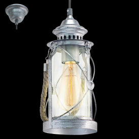 49214 Bradford 1 Light Ceiling Lantern Antique Silver