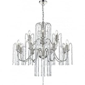 DAN1238 Daniella 12 Light Crystal Chandelier Polished Nickel