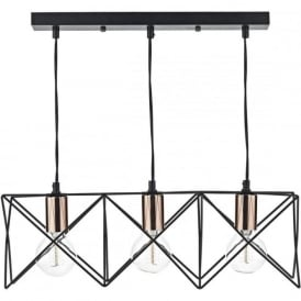 MID0322 Midi 3 Light Bar Pendant Black and Copper