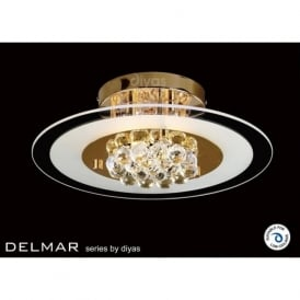 IL32021 Delmar Round 4 Light Asfour Crystal Ceiling Light Gold