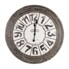 75-151 Round Metal Wall Clock Antique Grey