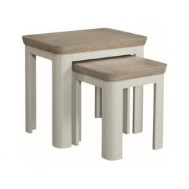 10512 Treviso Painted Oak Nest of Tables Stone Painted