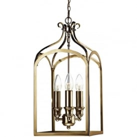SEN0375 Senator 3 Light Lantern Pendant Antique Brass