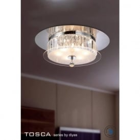 IL30242 Tosca 6 light Flush Crystal Ceiling Light Polished Chrome