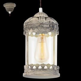 49203 Langham 1 Light Ceiling Lantern Patina Brown