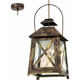 49347 Redford 1 Light Ceiling Lantern Gold Red