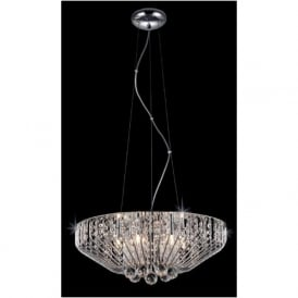 Impex CFH508052/06/CH 6 Light Crystal Ceiling Pendant Polished Chrome