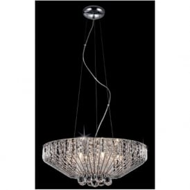 Impex CFH508052/07/CH 7 Light Crystal Ceiling Pendant Polished Chrome
