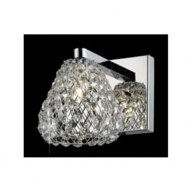 CFH501131/WB/CH Simone 1 Light Crystal Wall Light Polished Chrome