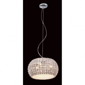 CFH905262/06/CLR/CH Rome 6 Light Crystal Ceiling Pendant Polished Chrome