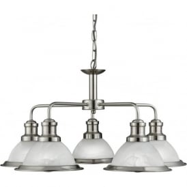 1595-5SS Bistro 5 Light Ceiling Pendant Light Satin Silver