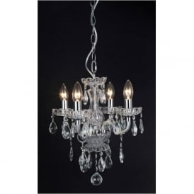 CF211093/04/CLR Rodeo 4 Light Crystal Chandelier Polished Chrome