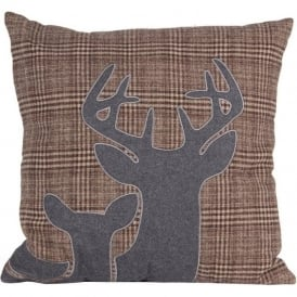 90-018 Grey and Brown Stag Design Scatter Cushion