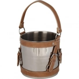70-301 Nickel and Tan Leather Ice Bucket