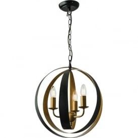 61066 Toro 3 Light Ceiling Pendant Matt Black