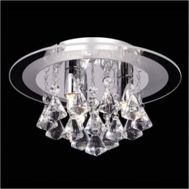 RENNER-3CH Renner 3 Light Crystal Ceiling Light Polished Chrome