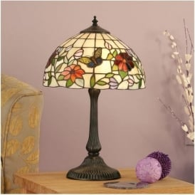 63998 Butterfly 1 Light Small Tiffany Table Lamp