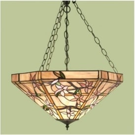 64019 Clematis 3 Light Tiffany Inverted Ceiling Pendant