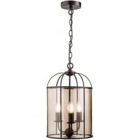 61019 Waterston 3 Light Ceiling Pendant Matt Dark Chocolate