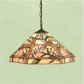 64020 Clematis 1 Light Tiffany Medium Ceiling Pendant
