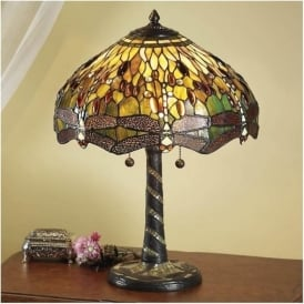 64095 Green Dragonfly 2 Light Large Tiffany Table Lamp