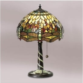 64094 Green Dragonfly 1 Light Medium Tiffany Table Lamp
