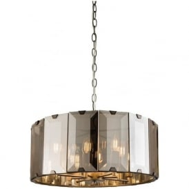 61294 Clooney 8 Light Ceiling Pendant Smoked Glass