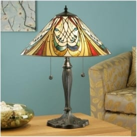 64163 Hector 2 Light Medium Tiffany Table Lamp
