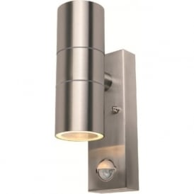 S8163 Modern 2 Light PIR Outdoor Wall Light Stainless Steel IP44
