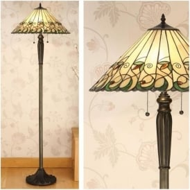64192 Jamelia 2 Light Tiffany Floor Lamp