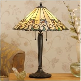 64197 Jamelia 2 Light Tiffany Large Table Lamp