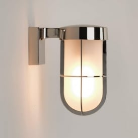 7848 Cabin Frosted Outdoor Wall Light Polished Nickel IP44