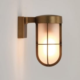 7850 Cabin Frosted Outdoor Wall Light Antique Brass IP44