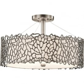 Kichler KL/SILCORAL/P/A Silver Coral 3 Light Duo-Mount Ceiling Light Pewter