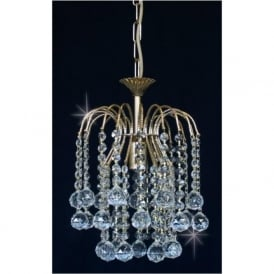 ST01800/20/01/G Shower 1 Light Crystal Pendant Gold