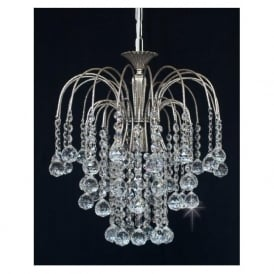 ST01800/35/01/N Shower 1 Light Crystal Pendant Nickel