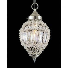 CO01219/01/S Bombay 1 Light Crystal Ceiling Pendant Satin Chrome (Small)