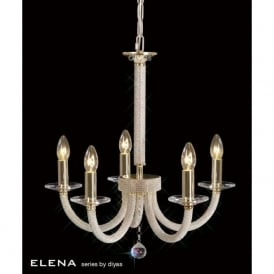 IL30375 Elena 5 Light Crystal Ceiling Light French Gold