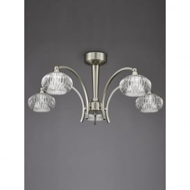 FL2335/5 Ripple 5 Light Semi-Flush Ceiling Light Satin Nickel