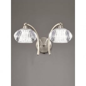 FL2335/2 Ripple 2 Light Switched Wall Light Satin Nickel