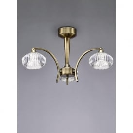 FL2336/3 Ripple 3 Light Semi-Flush Ceiling Light Bronze