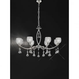 FL2292/8 Sherrie 8 Light Crystal Ceiling Light Satin Nickel