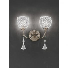 FL2293/2 Sherrie 2 Light Crystal Switched Wall Light Bronze