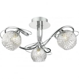 REH0350 Rehan 3 Light Semi-Flush Ceiling Light Polished Chrome