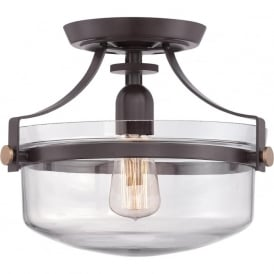 Quoizel QZ/PENNSTAT/F/WT Penn Station 1 Light Ceiling Light Western Bronze
