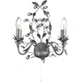 2492-2SI Almandite 2 Light Wall Light Antique Silver