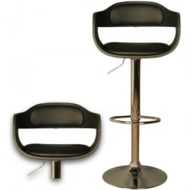 10190 Anna Black Faux Leather Stool