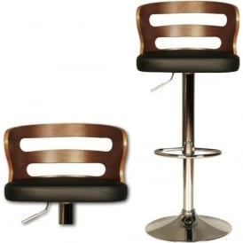 10187 Ellie Black Faux Leather Stool