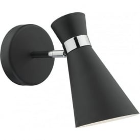 Dar ASH0722 Ashworth 1 Light Switched Wall Light Matt Black